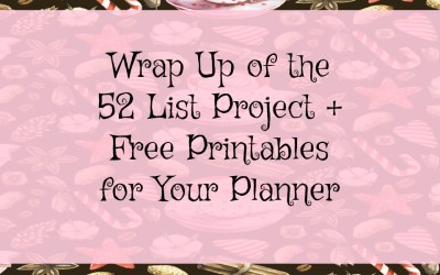 My Wrap Up of 2016 52 List Project