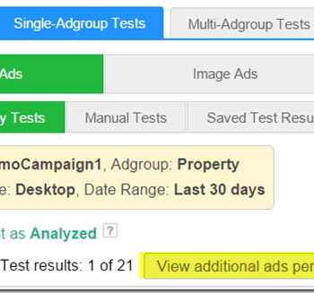 View additional ads performance thumbnail