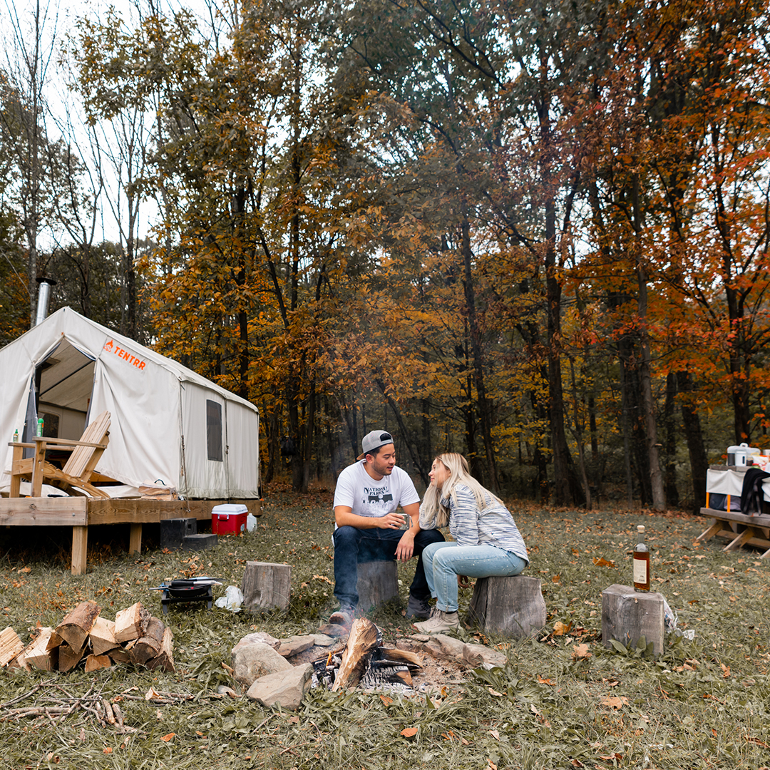 camping in fall with Tentrr