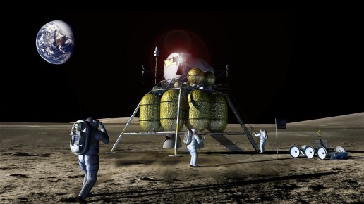 Lander and Astronaut on Surface