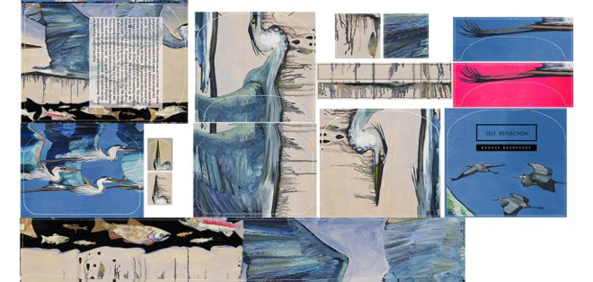 Printed Fabric - Self Reflection Heron Bag - Original artwork by Eli Halpin