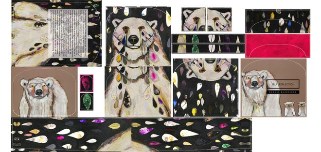 Printed Fabric - Self Reflection, Polar Bear (original artwork by Eli Halpin)