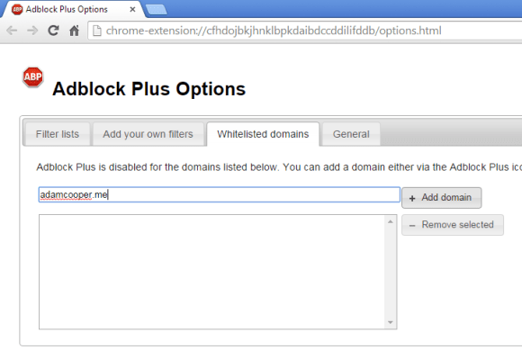 Open the plugin's option menu and add my domain to the allow list.