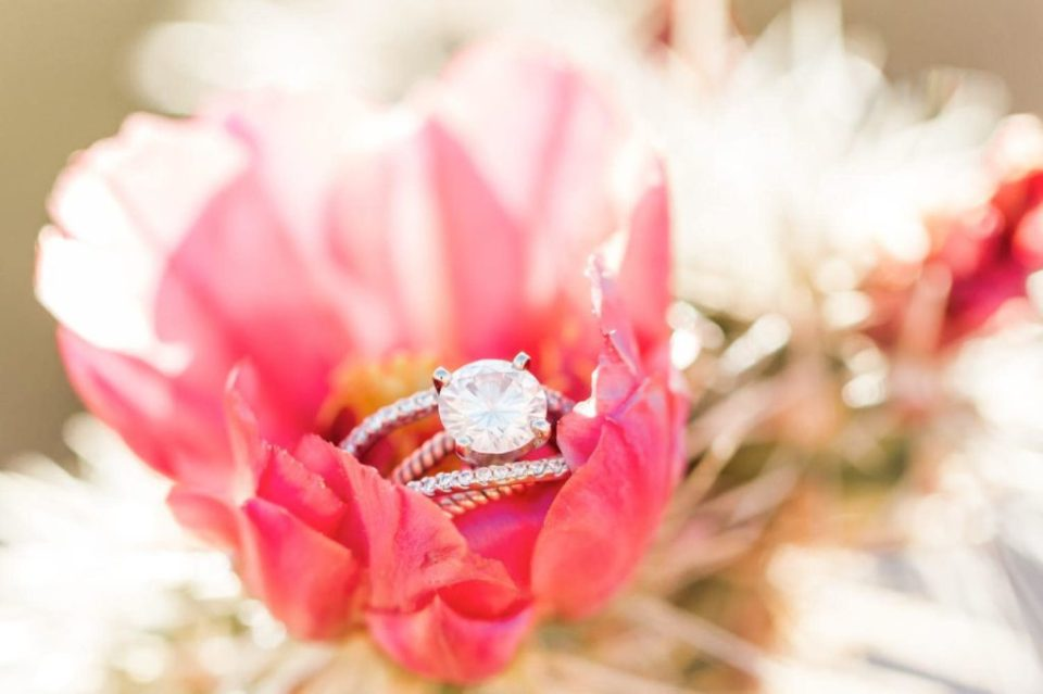 Wedding ring in a cactus bloom