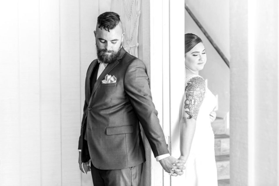 First Touch on a wedding day