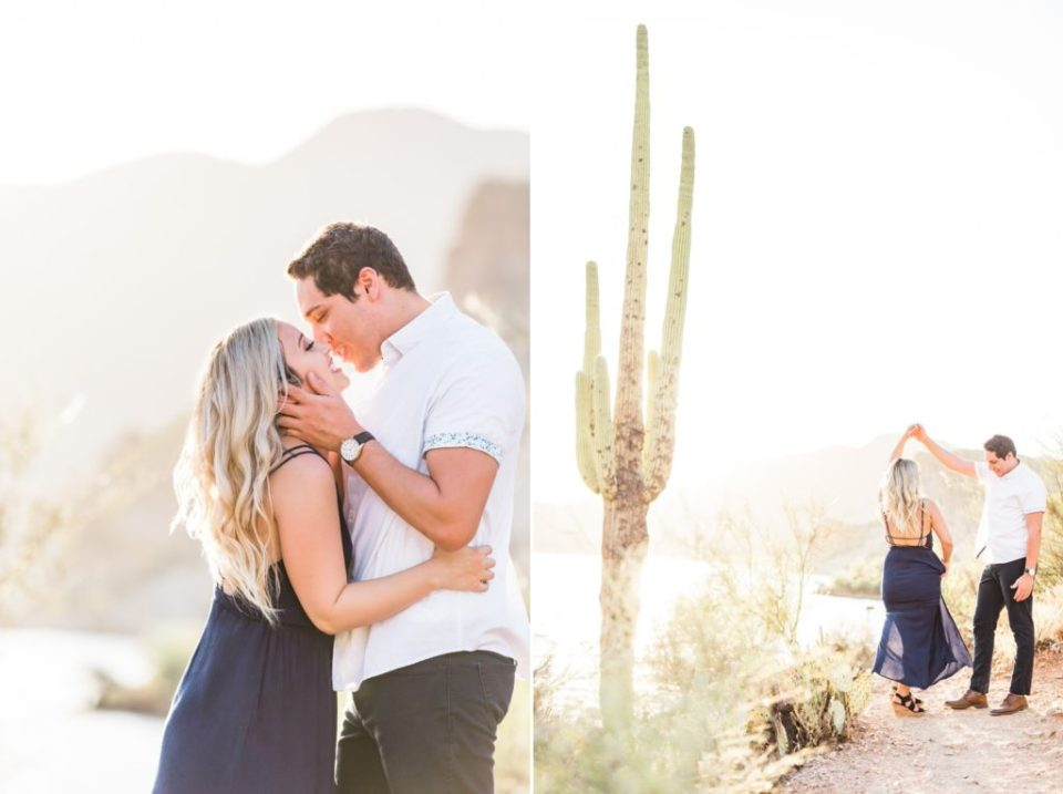 engagement photos with giant saguaros