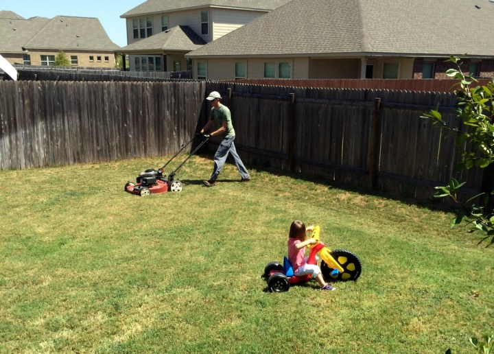 Eliza helped daddy mow the lawn this week. She actually pushed the mower for the entire side of the house and then got distracted by her bike.