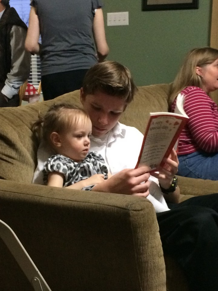 Eliza reading with Bennett McCullough