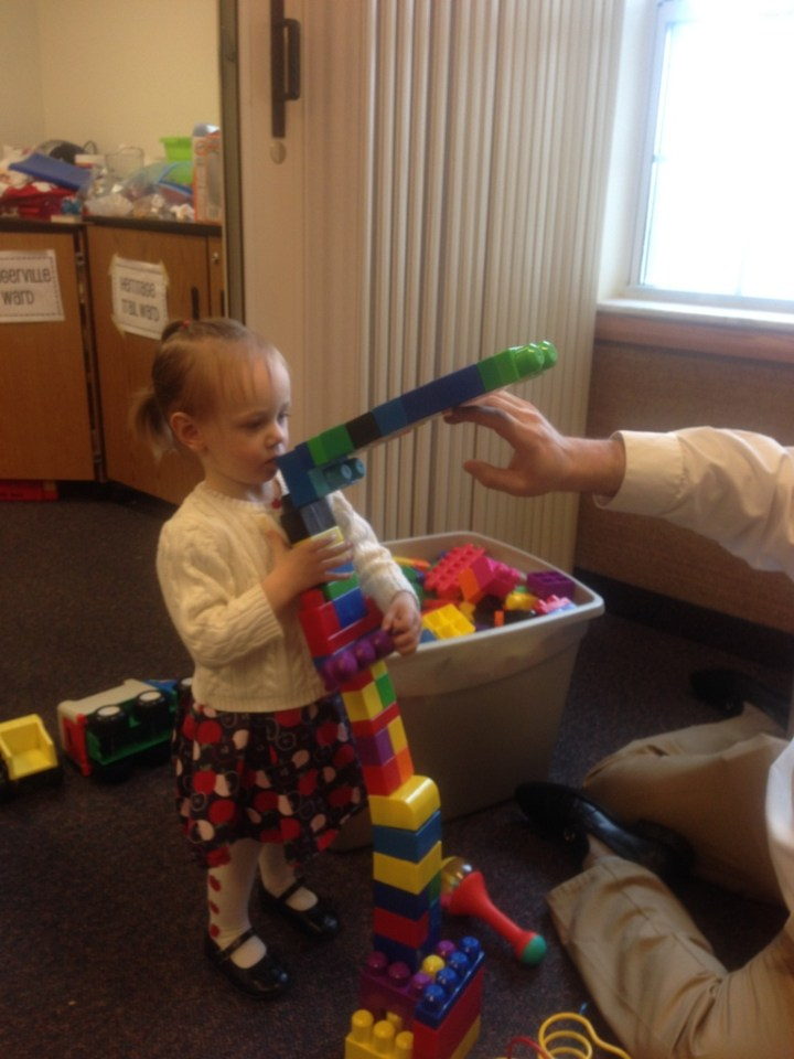 Eliza made a tower in nursery this week.