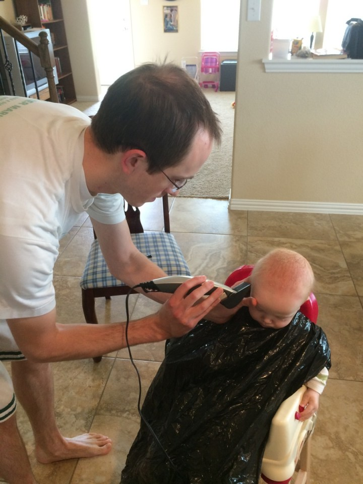 James' first haircut: during