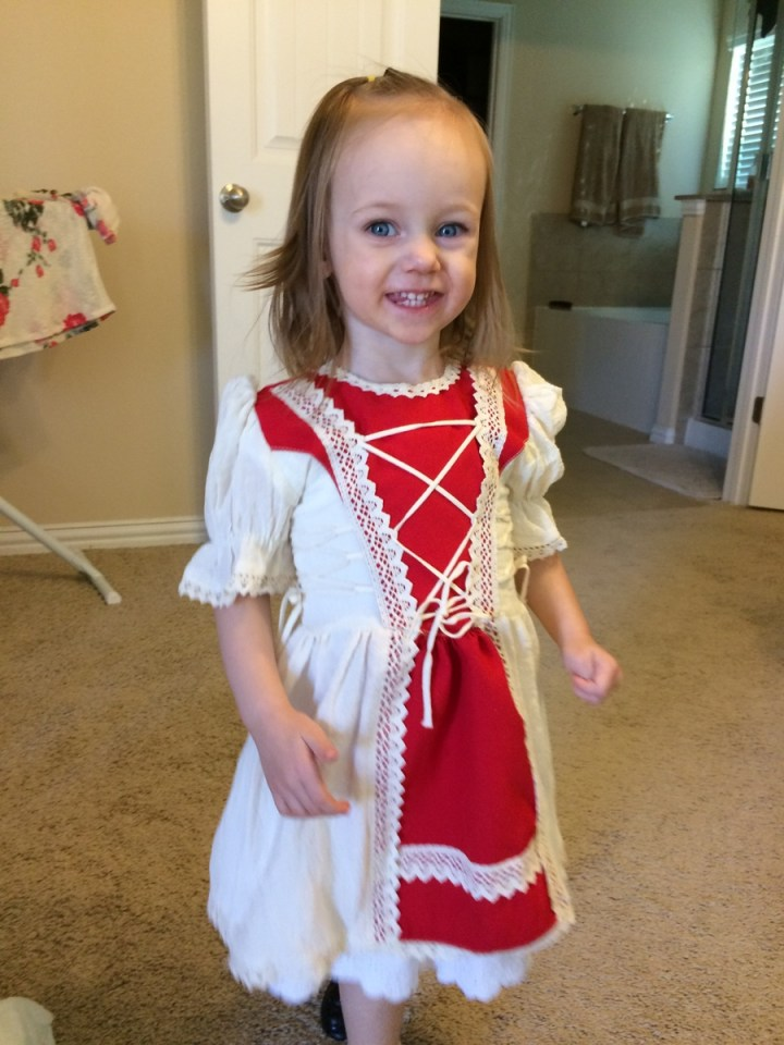 Eliza decided she'd wear this dress on Sunday when we went to a missionary open house. Adam got it for her in Romania.
