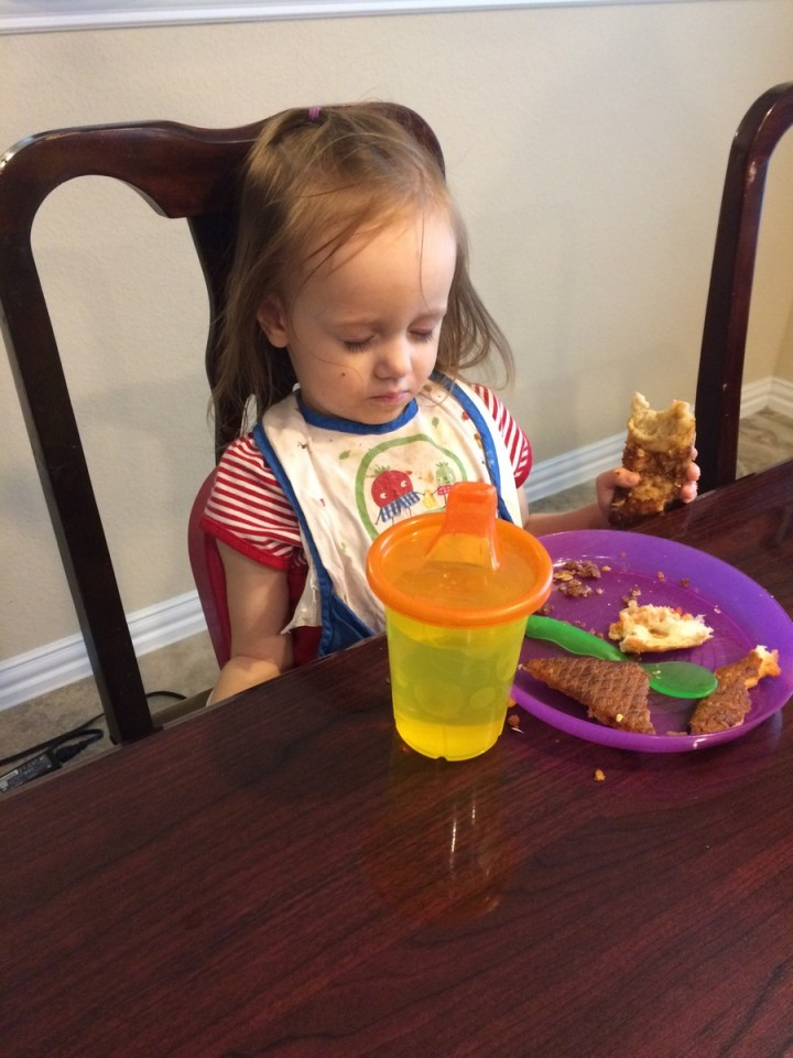Eliza was so tired that she fell asleep at the table.
