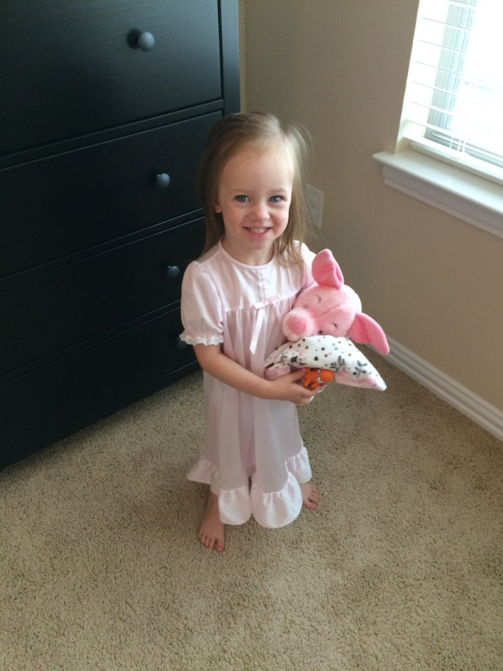 Eliza loved this nightgown that she borrowed from our friends while we were at the temple.