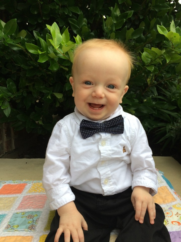 Rebekah got James this cute bow tie.