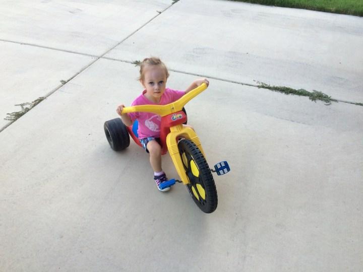 Eliza on her bikecycle