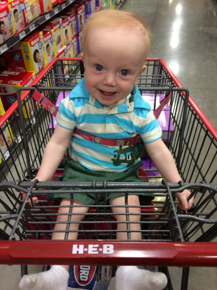 James's first time in the seat of the cart.