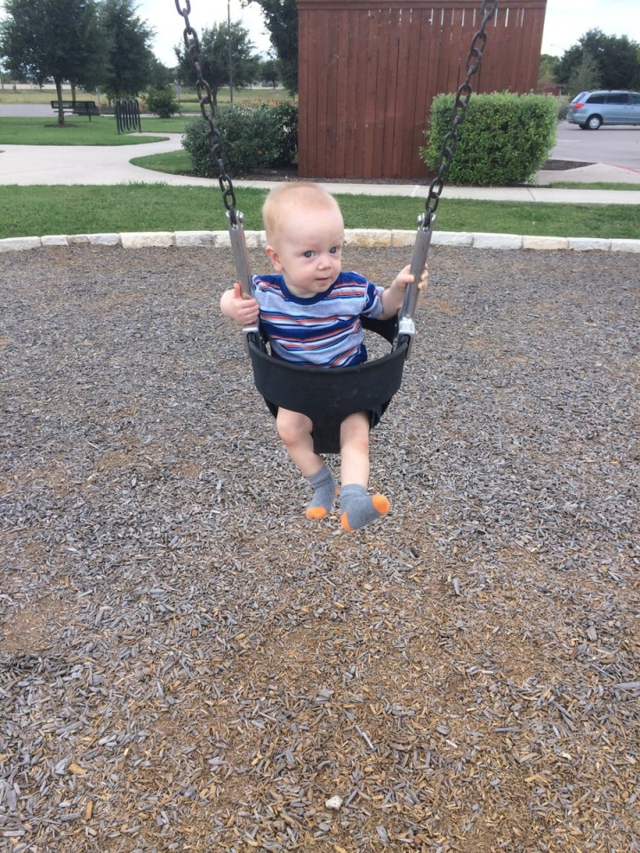 James's first time swinging. He wasn't quite sure what to make of it.