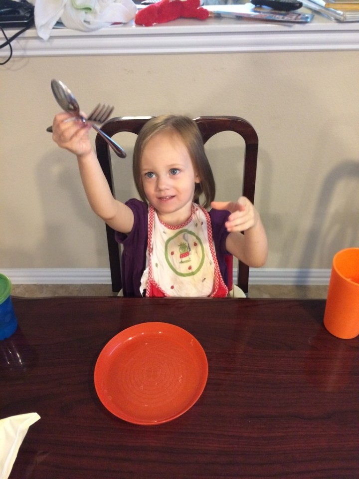 We talked with Eliza this week about how I was going to fly on an airplane and so she made an airplane out of her utensils.