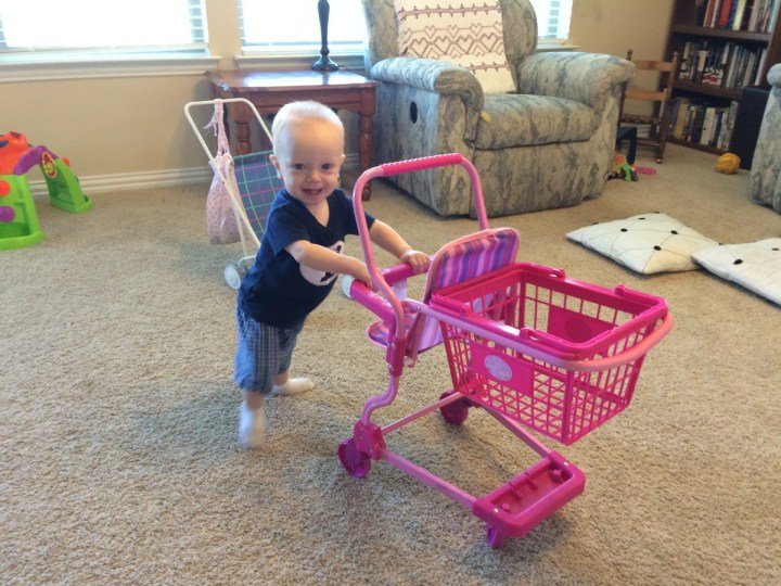 James figured out he can walk with this cart this week. He usually runs into things but once he got going in circles and loved it.!