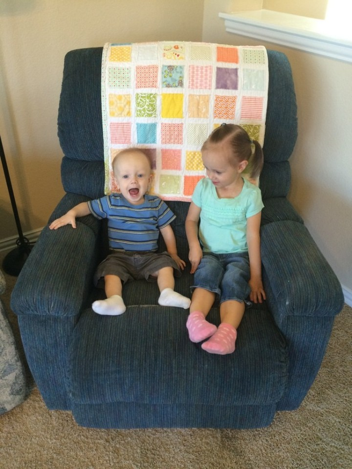 James was so happy to sit with Eliza on the chair!