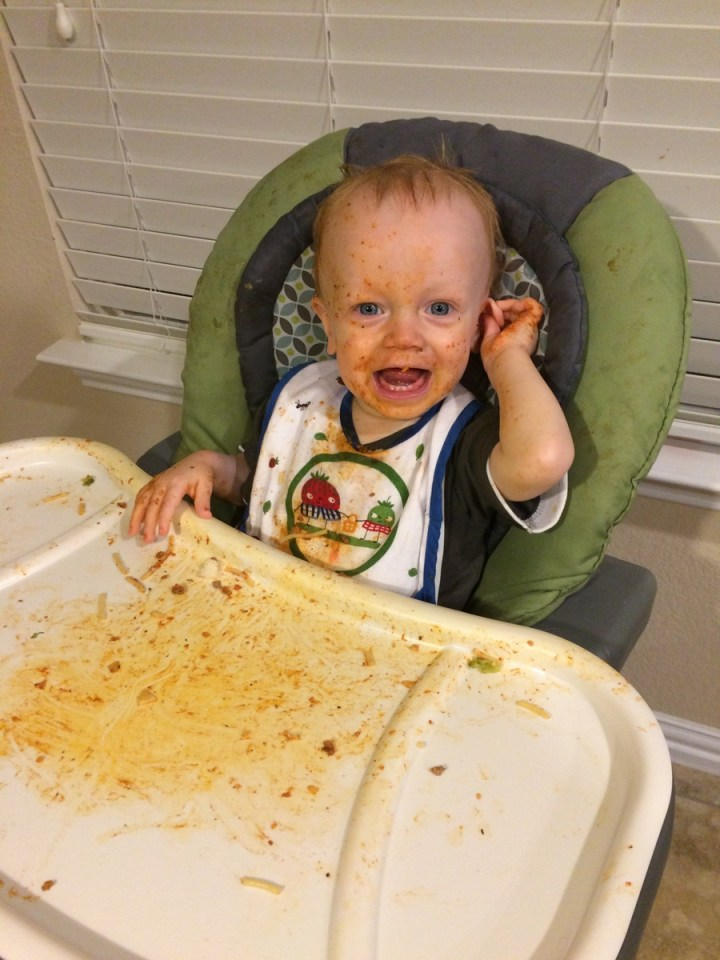 James has been eating his food so well! He loves spaghetti the best!