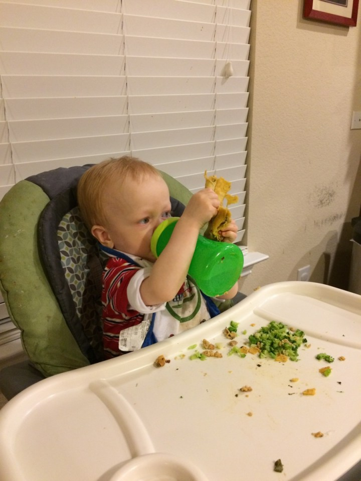 James liked the taquitos so much that he didn't want to put them down to get a drink.