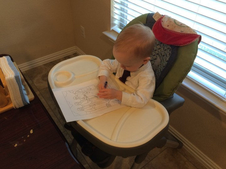 """James coloring at our """"nursery at home"""" on Sunday."""