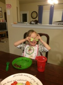We had to talk Eliza into making this cucumber face.