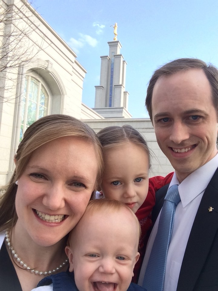 Family selfie at the temple.