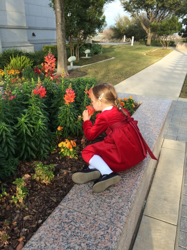 Eliza smelling the flowers