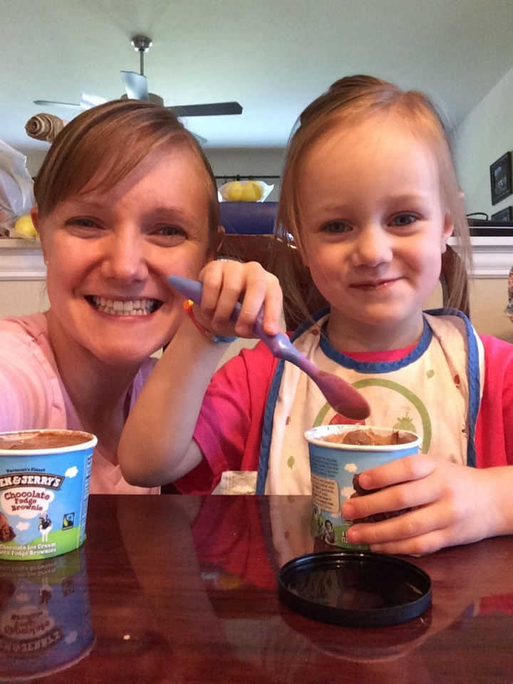 Eliza was super obedient when she went out and so she got to share an ice cream with mom.