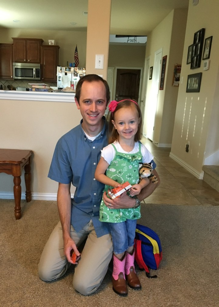 Daddy and Eliza ready to go to work.
