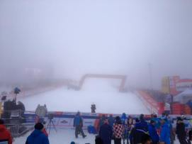 Slalom finish fog