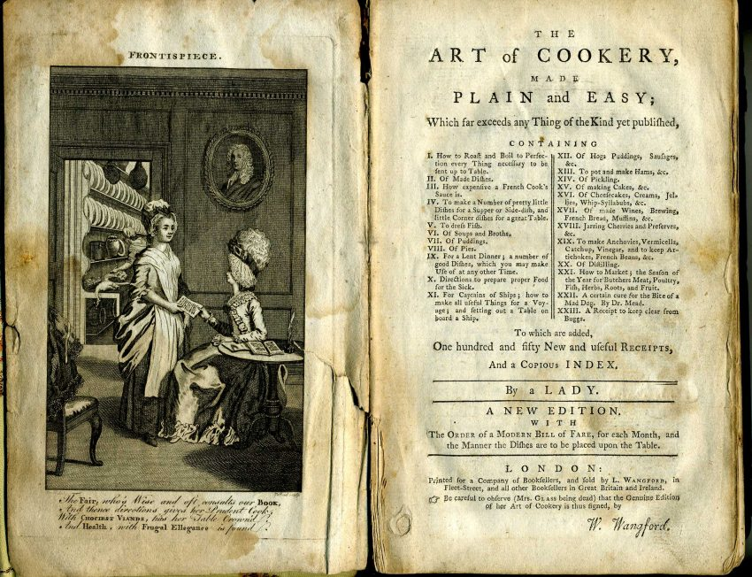 Art of Cookery by Hannah Glasse frontispiece and title page (Image source: Wikipedia)