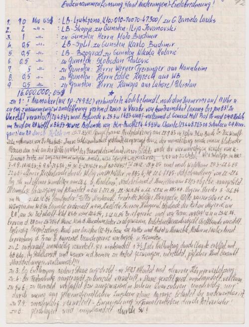 Original ist i verschlossenen Brief abgegeben am 4.7.85 - nach der Unterkiefer-Notbehandlung