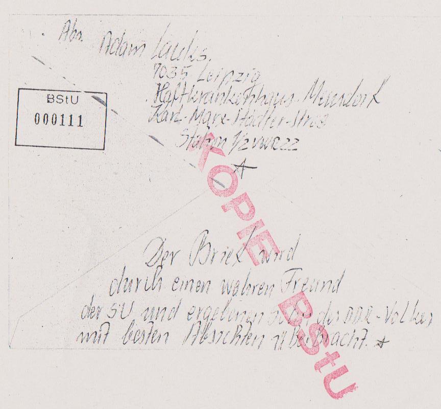 Briefumschlag an den KGB 27.9.85