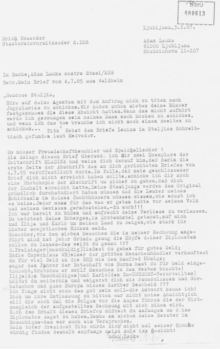 Deckblatt zu der MLADINA Sendung an Erich Honecker  Ljubljana, 3.2.87