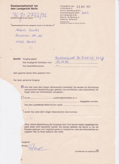 Anzeige Verrat am Mandanten und Vernachlässigung der Anwaltpflicht.