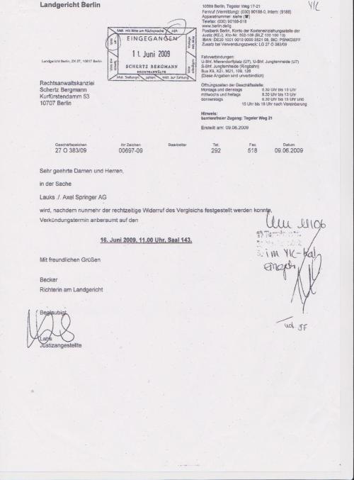 Axel - Springer AG wollte meine Ehre,Würde und Stolz - gegen RA Kosten aufwiegen ?