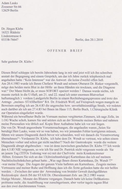Offener Brief an den IM des MfS Dr.Jürgen Klebs aus Rüdnitz