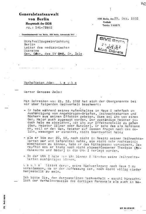 """Am 1.2.1982 hatte IME NAGEL -  OSL Dr. Zels die""""lückenlose medizinische Betreuumg"""" übernommen..."""