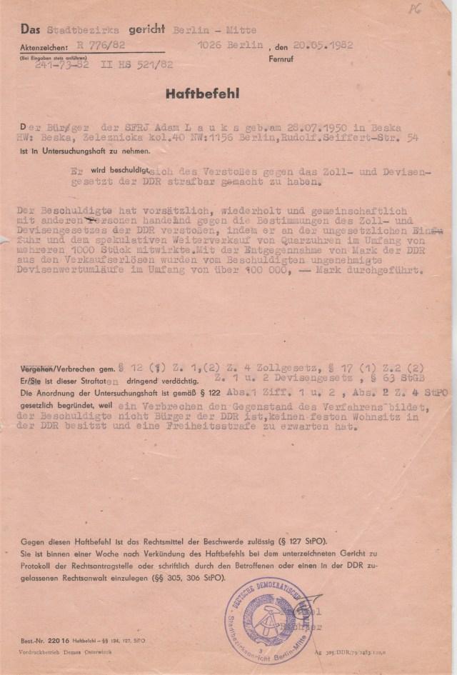 Zersetzung von Adam Lauks 1982.05.20.