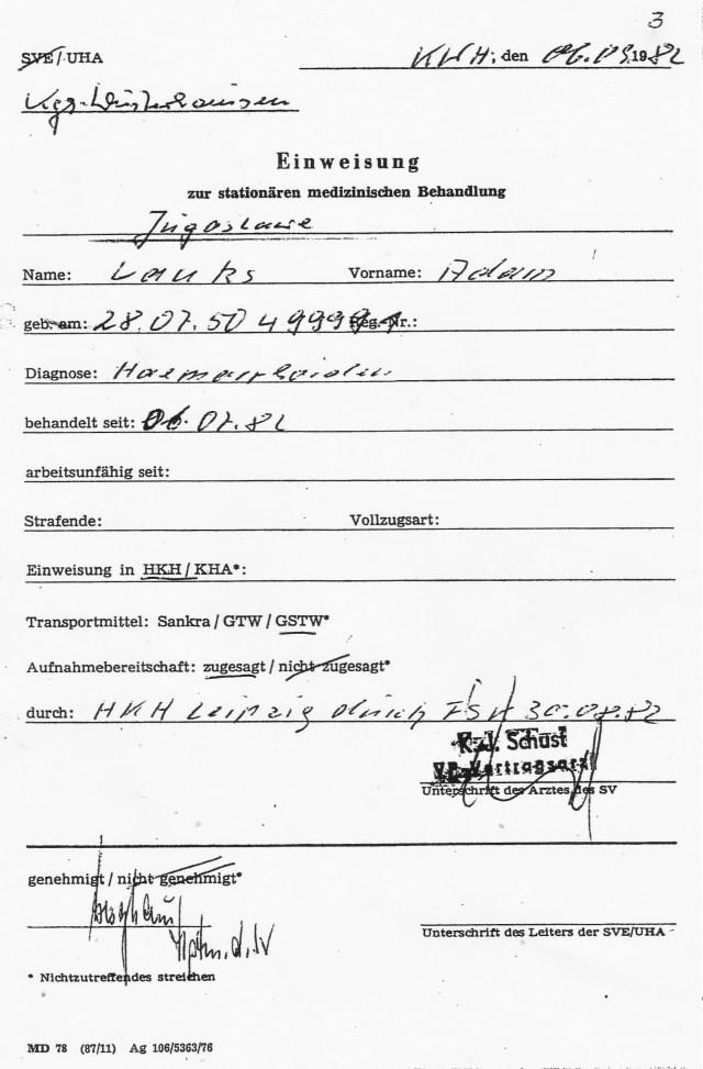 Zersetzung von Adam Lauks 1982.09.06.