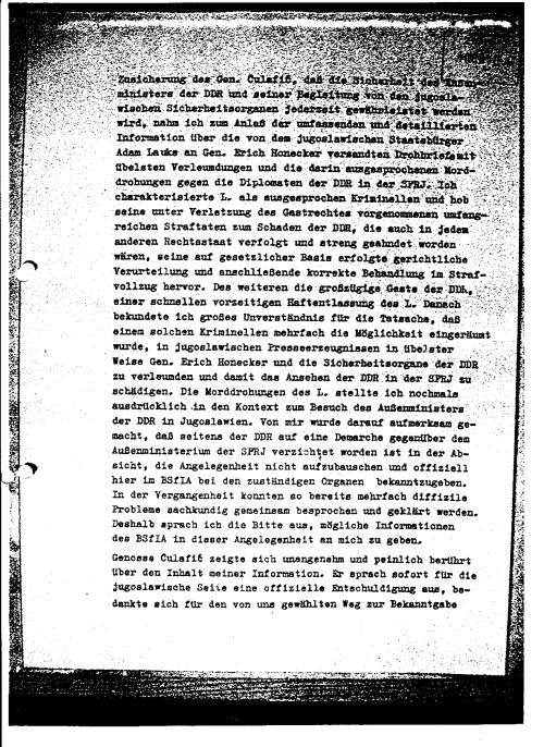 Bericht der Unterhändler der HV A über die Operative Maßnahme in Belgrad am 21.4.i87