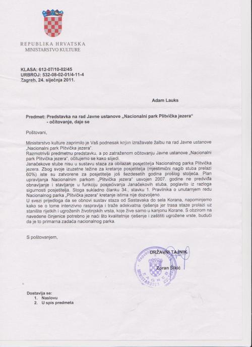 Antwort des Ministerium für Kultur Kroatiens