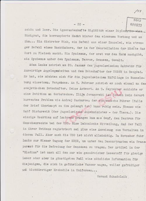 Am 20 Januar 1986 schrieb Lauks an den jugoslawischen Sekretär für ausw.Angelegenheiten