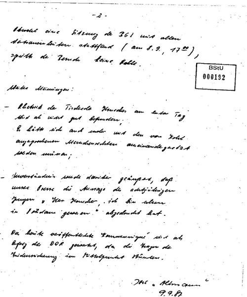 IMS ALTMANN - Bericht an MfS  vom 9.9.87 über Honeckers Besuch 001
