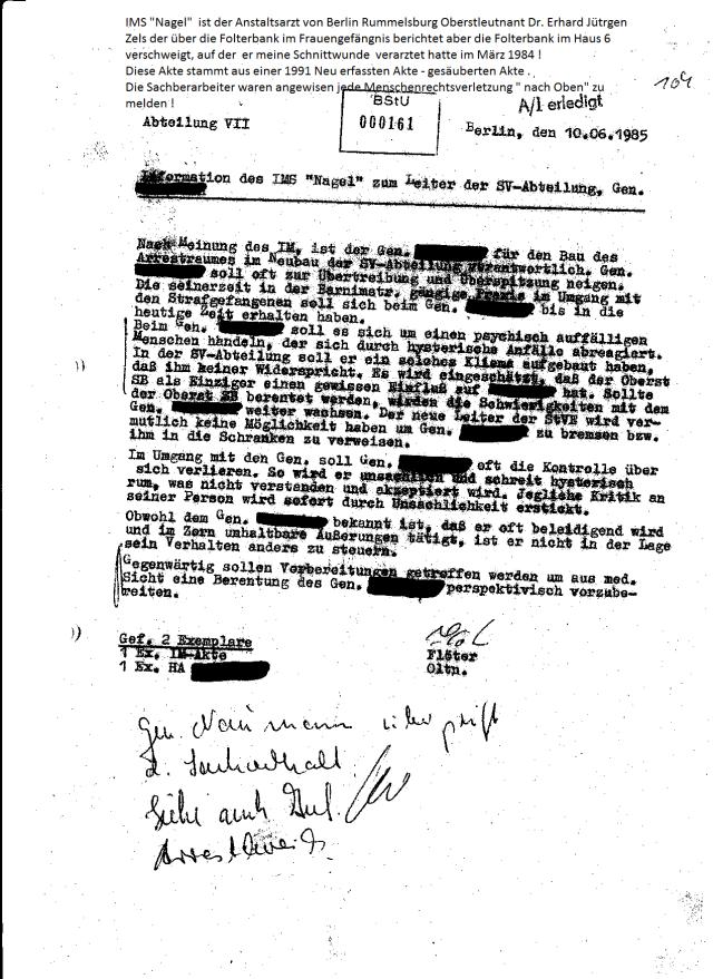 Weitere Akte im Bezug auf Folterbank und den Folterschergen gab es nicht in der Akte des Internisten Erhard Zels !?? Seine Akte wurde 1991 neu erfasst - GESÄUBERT dem Stasi Unterlagen Gesetz angepasst!?