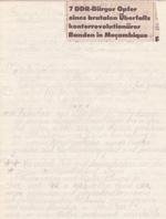 Es herrschte gnadenloser Krieg - Ich nahm mein Schicksal in die Hände und kündigte den Hungerstreik an für den 20.12.1984 nach dem ich DIE NACHRICHT aus Mosambique erhalten hatte. Es gab kein zurüvck mehr.