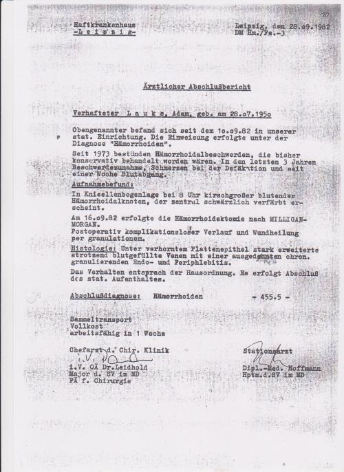 Dipl.-Med. Hoffmann - Hauptm.d.SV im MD war beauftragt den Anschlag auszuüben... führte Experimente an SG aus.. Ich berichtete darüber dem SPIEGEL - Ulrich Schwarz verschqwieg das 1986